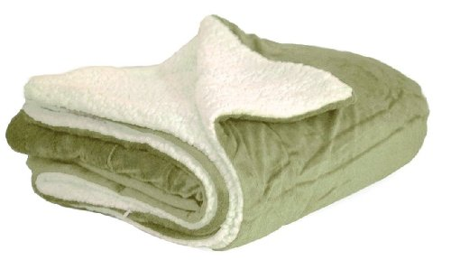 Elegant Comfort® Luxury Micro-Sherpa Ultra Plush Solid Blanket, Full/Queen, Sage front-995845