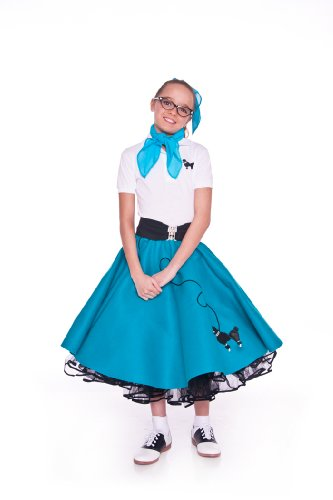 Hip Hop 50S Shop 4 Piece Child Poodle Skirt Outfit - Size Medium Child Teal