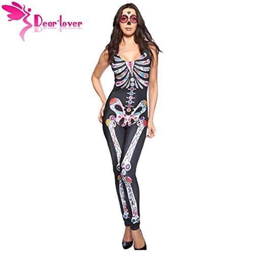 Halloween Costume Bodysuit Long Pant Sugar Skull Adult Women (Katniss Everdeen Halloween Costumes)
