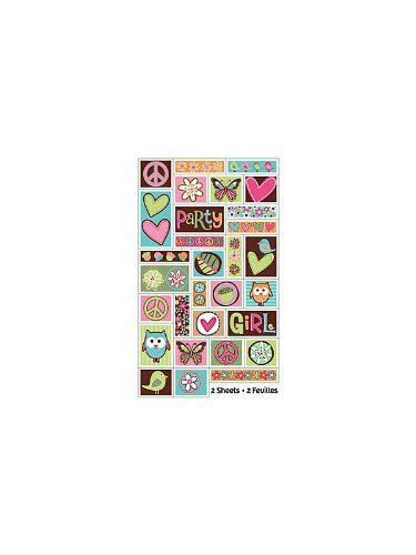 Amscan Unisex Adult Hippie Chick Birthday Sticker Sheets Black Medium - 1