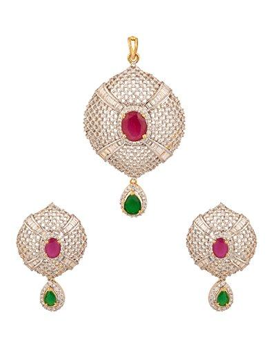 Voylla.com Cubic Zirconia Studded & Semi Precious Stone Studded Pendant For Women -Green & Red (multicolor)