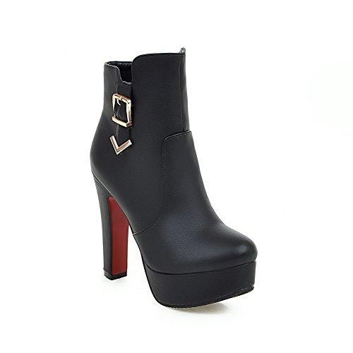AgooLar Donna Punta Tonda Bassa Altezza Tacco Alto Puro Stivali con Fibbia, Nero, 38