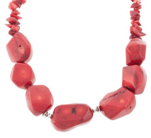 Sterling Silver Coral Chip and Coral Nugget Necklace, 18