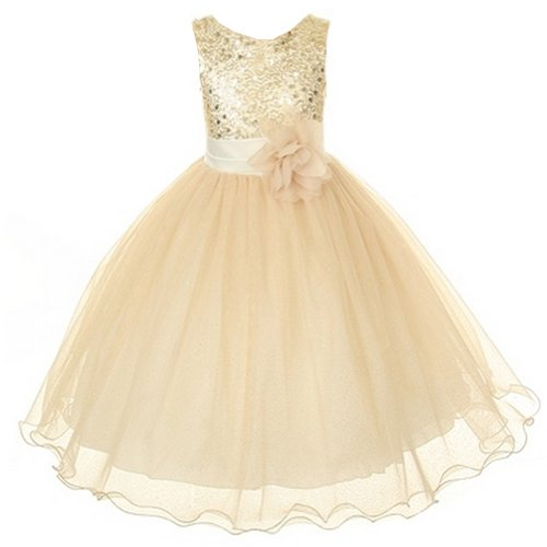 Flower Girls Sequin Glitter Beaded Dress Christmas Pageant Graduation (12, Gold)