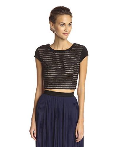 A.B.S. by Allen Schwartz Women's Stripe Texture Crop Top