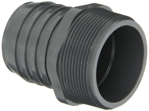 """Spears 1436 Series Pvc Tube Fitting, Adapter, Schedule 40, Gray, 1"""" Barbed X Npt Male"""