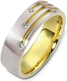 buy Designer 18 Karat Two-Tone Gold 3 Diamond Unique Wedding Band Ring - 4.75