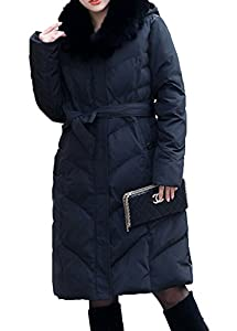 BORUIDESI Women's Long Hooded Animal Fur Trim Quilted Down Parka Coat-Black-3XL