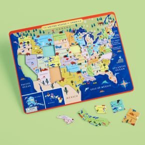 Cheap Land of Nod Kids Educational Puzzles: Kids United States Map Puzzle, USA Map Tray Puzzle (B00487Q2NK)