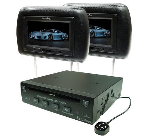 In Phase IVM7PKBLACK DVD Player and two Black Headrest 7 inch Screens Package