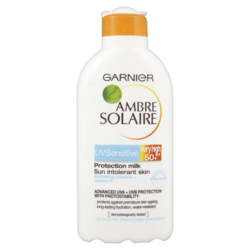 Garnier Ambre Solaire UV Sensitive Protection Milk Very High SPF 50 For Sun Intolerant Skin 200ml with Hydrating Complex And Vitamin E