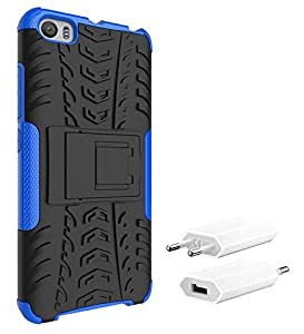 Chevron Tough Hybrid Armor Back Cover Case with Kickstand for Xiaomi Mi 5 with USB Mobile Wall Charger  Blue  available at Amazon for Rs.8084