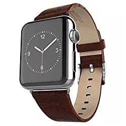 Apple Watch Strap,Mattaxly Luxury Leather Wrist Watch Band Classic Buckle Watch Band Straps for Apple Watch (38 mm Leather Brown)