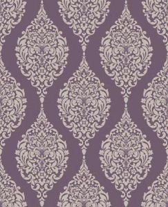 Home of Colour Damask Stripe Wallpaper - Plum by New A-Brend