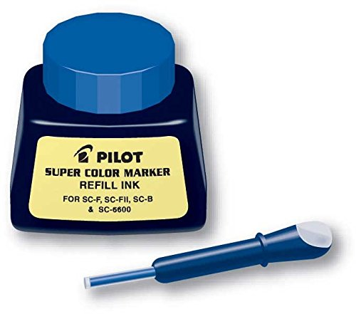 Pilot Super Color Permanent Marker Refill Ink, 1 Ounce Bottle with Dropper, Blue Ink (43600)