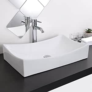 Sophisticated Extra Large Porcelain Rectangular Sink Vessell With Pop ...