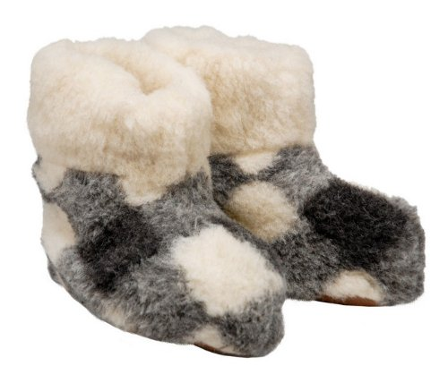 Image of Women's Leather & Checkered Wool Slippers - Boot Style (B009K4IE82)