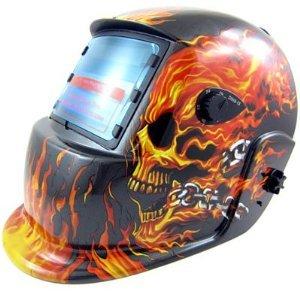 XtremepowerUS Auto-Darkening Solar Powered Welding Helmet (Flames Skull)