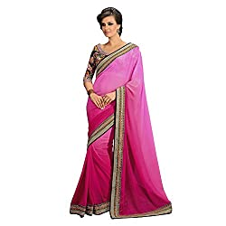 Resham Fabrics Pink Georgette Saree
