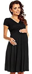 Zeta Ville - Women's Maternity Wrap V-neck Summer Dress - Short Sleeves - 108c