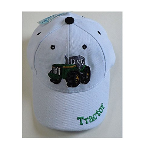 Children's Embroidered Tractor Baseball Cap, Available in Camouflage, Green, White or Black (White) (Children Baseball Cap compare prices)