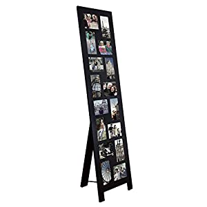 adeco black wood floor standing easel picture photo frame 16 openings of 4x6. Black Bedroom Furniture Sets. Home Design Ideas