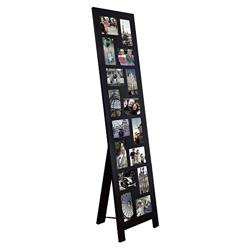 Check Out This Adeco Black Wood Floor-Standing Easel Picture Photo Frame, 16 Openings, 4×6″