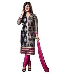 fabgruh Brown & Black colour dress material