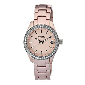 Fossil Women's ES2976 Quartz Rose Dial Aluminum Watch