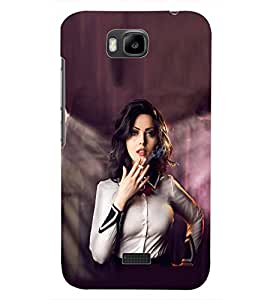 PrintDhaba SMOKING GIRL D-6928 Back Case Cover for HUAWEI HONOR BEE (Multi-Coloured)