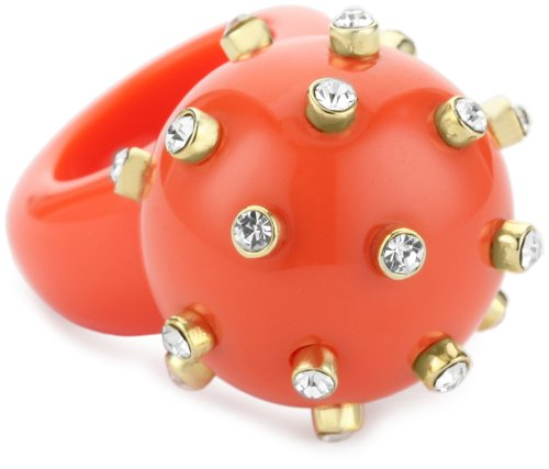 RAIN Coral-Color Round Ball Spike Ring, Size 7