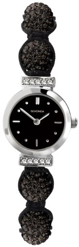 Crystalla by Sekonda Women's Quartz Watch with Black Dial Display and Black Nylon Strap 4717.27