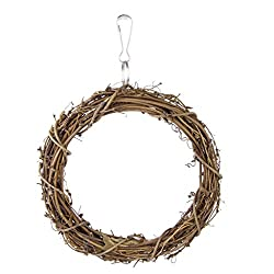 Imported 15cm Bird Toys Rattan Woven Swing Hanging Ring with A hook for Cockatiels And Swing Parrot