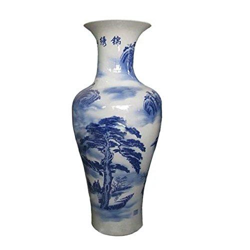 fishtail-type-floor-vase-of-underglaze-blue-and-white-glazed-porcelain-flying-fall-and-ancient-pine-