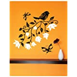 Creative Width Bird With Flowers Wall Decal - (23x24 Inch, Multicolour )