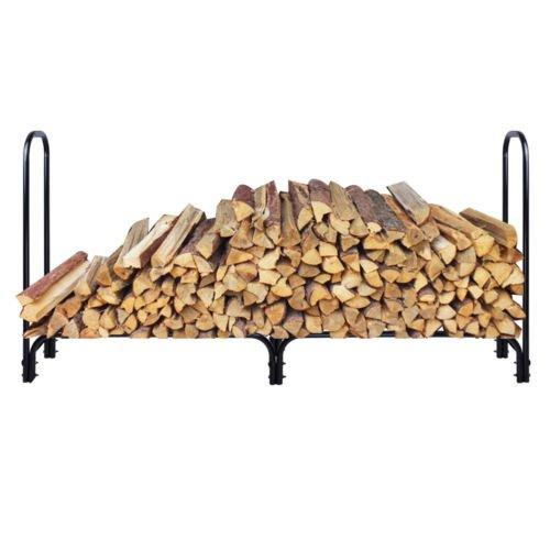 New 8 Feet Outdoor Heavy Duty Steel Firewood Log Rack Wood Storage Holder Black (Chopper Gloves Children compare prices)