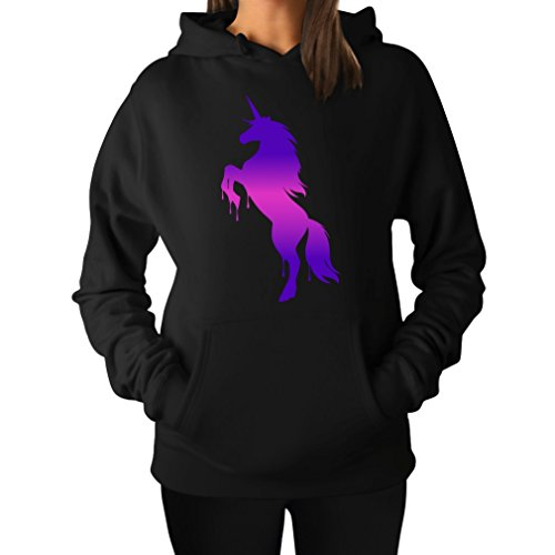 Teestars Women'S - Unicorn Dripping Hoodie Large Black