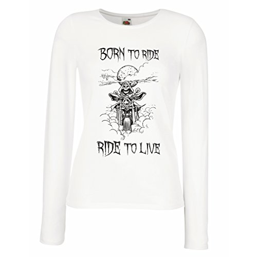 N4690M Maniche lunghe femminili T-shirt Born To Ride! motorcycle clothing (Small Bianco Multicolore)