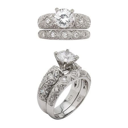 Sterling Silver 6mm CZ Wedding Set - Size 8