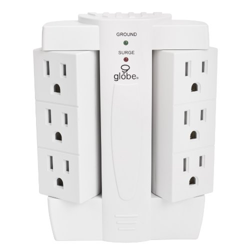 6 Outlet Swivel Surge Protector Wall Tap, 2100 Joules, White Finish, Globe Electric 7732001 (Electric Sockets compare prices)