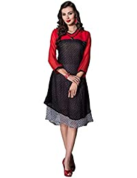Alethia Enterprise Black & Red Color Georgette Printed Stitched Kurti-ALH506KI242CN