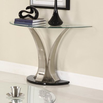 Homelegance Charlaine Glass Top Sofa Table W/ Black Base front-1056934