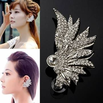 Bheema 1pc Silver Plated Crystal Angel Wing Feather Ear Cuff Women Earrings