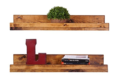 DAKODA LOVE Handmade 5H x 24W x 7D-Inch Rustic Luxe Floating Shelves (2 Pack), Walnut (Wood Shelves Wall Mounted compare prices)