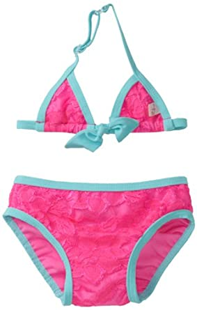 Floatimini Baby-Girls Infant Sweet Lace Two Piece Bathing Suit, Pink, 12-18 Months