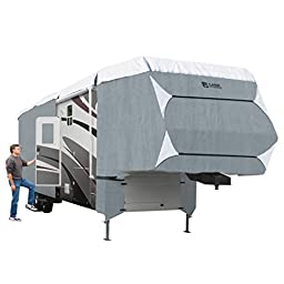 Classic Accessories OverDrive PolyPRO 3 Deluxe 5th Wheel Cover or Toy Hauler Cover, Fits 23\' - 26\' RVs - Max Weather Protection with 3-Ply Poly Fabric Roof RV Cover (75363)