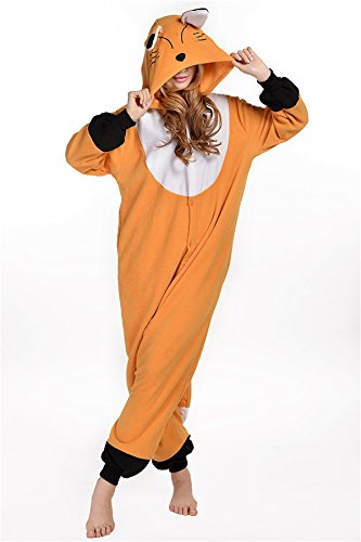 Adult Coffee Fox Sleepwear Animal Homewear One Piece Pajamas