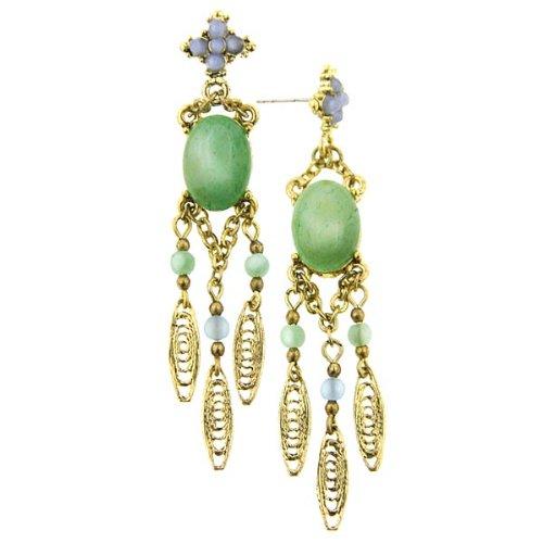 1928 Boutique Blue Agate & Aventurine Chandelier Earrings