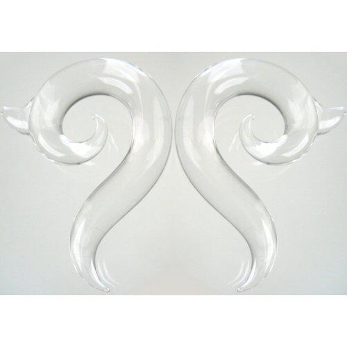 Pair of Glass Borneo Spirals: 000g Crystal