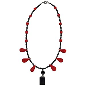 """Red Coral and Onyx Semi Precious Necklace, 16""""+3"""" extender"""